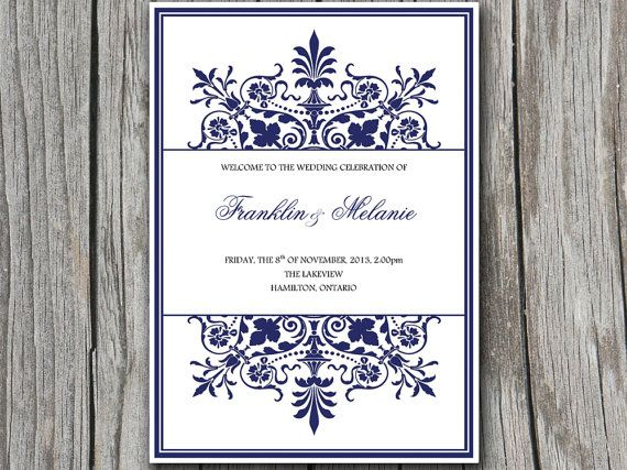 Half Fold QuotRegencyquot Wedding Program Template Microsoft Word Ornate Border Navy Blue Custom