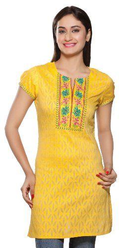 Rangmanch Women's Indian Ethnic Kurta Tunic Embroidered Neck Yoke