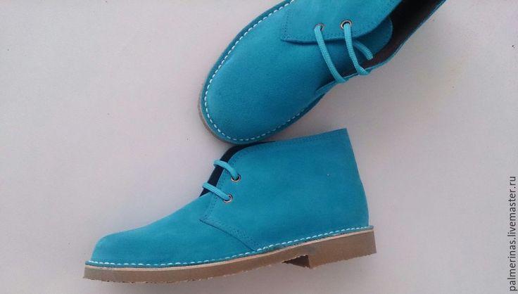Купить Новые размеры бирюзовых ботинок - бирюзовый, бирюзовые ботинки, замшевые ботинки, ботинки женские