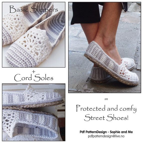 2in1-Pattern Pack for Lace and Stripe Toms/Slippers included Tailored CORD-Soles - Instant Download