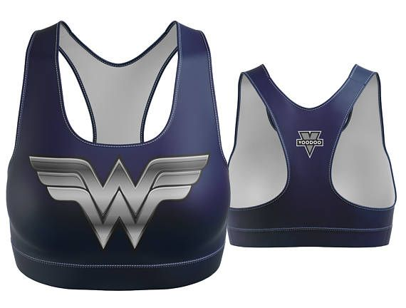Custom Wonder Woman Sports Bra Navy Blue with Silver Breastplate | Yoga Bra | Women's Bra | Yoga Top | Gym Bra | Yoga Wear | Gym Bra | Exercise Bra | Workout Top | Bikini Top | Plus Size Bra | Bra | SportsBra | Work Out Bra | Gym Wear | Super Hero Bra | Cosplay  Made in the USA. -Custom Sports Bra designed, printed, cut and sewn to order in Phoenix, AZ -Great gift for her -82% Polyester / 18% Spandex blend. -4 way stretch which means fabric stretches and recovers both on the cross and le...
