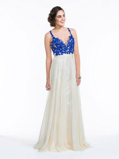 V-neck Beading A-line Backless Multi Colours Lace Chiffon Formal Dresses #Formal020100633