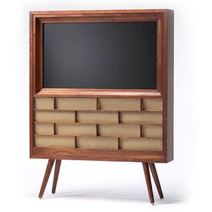 Such a cool way to work a flat screen into vintage or retro mod decor. Maybe I can make one similar.