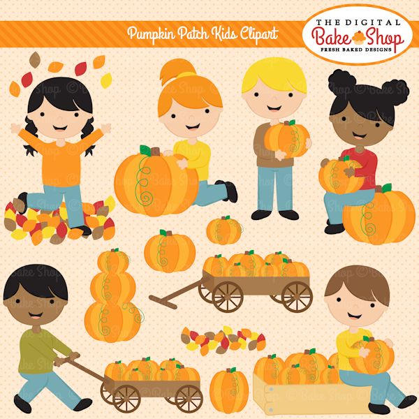 Pumpkin Patch Kids Clipart - great for newsletters or field trip details, web design, scrapbooking and more.