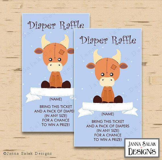 Cute Stuffed Cow Diaper Raffle Card 2x 3.5