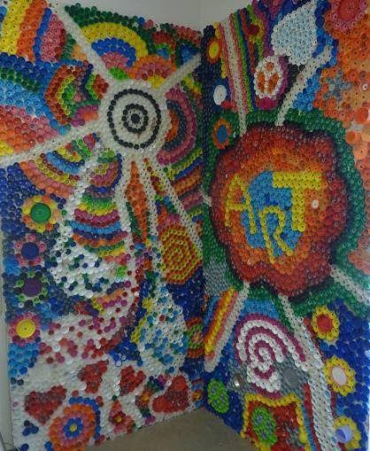 Bottle cap mural art lesson idea pinterest for Bottle cap mural