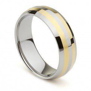 Aliança de Casamento Realeza em Tungstênio Prata e Ouro 8mm