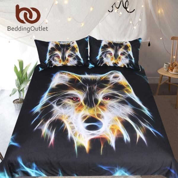 Beddingoutlet 3d Wolf Bedding Set King Vivid Duvet Cover Set Boys Black Home Textiles 3 Piece Animal Printed King Bedding Sets Duvet Cover Sets Duvet Covers