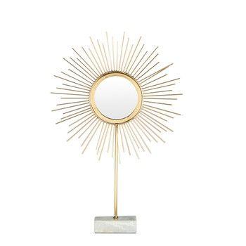 Miroir  poser soleil en métal doré et marbre 39x62