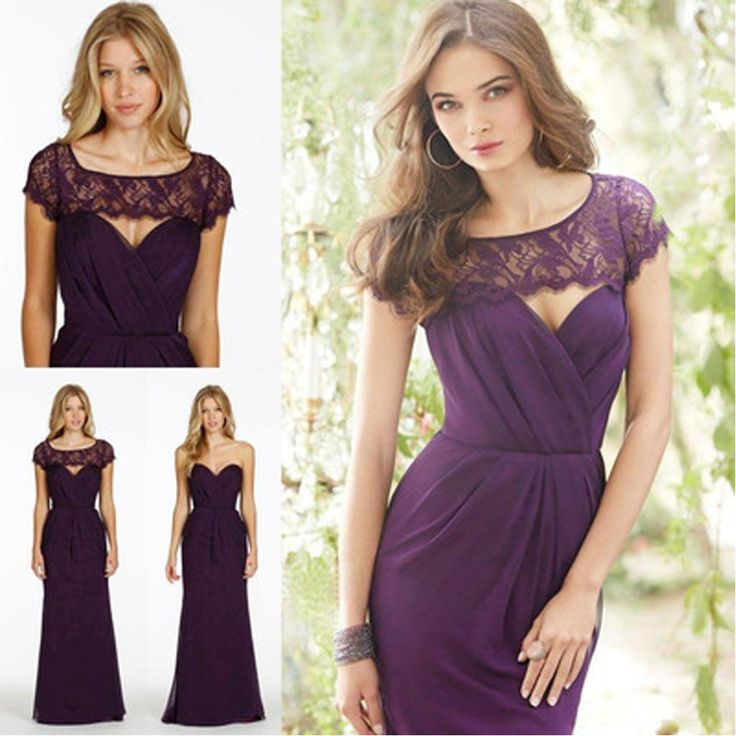 Lace Chiffon Sweet Heart Backless Formal Purple Cap Sleeve Cheap Bridesmaid Dresses, WG48