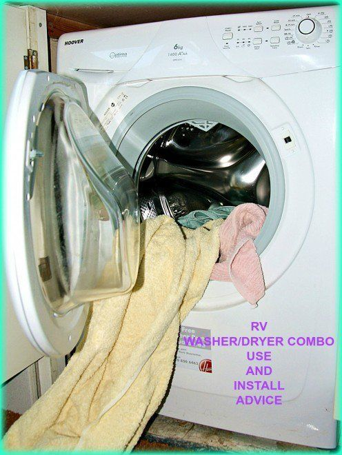 Information about installing and using an RV washer/dryer combination unit.