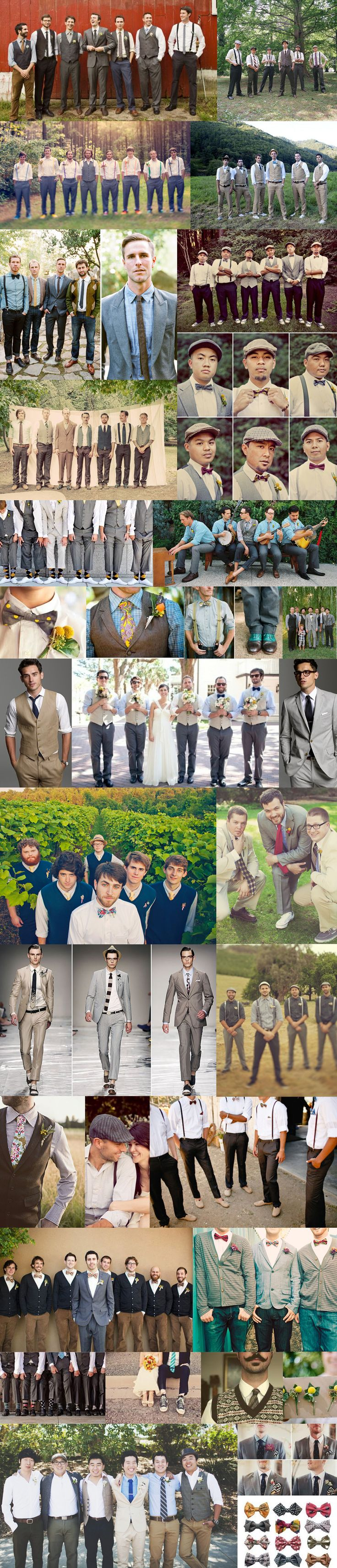 Mismatched groomsmen outfits! - all in gray with white shirts, but choice of vest, suspenders, bow tie, tie, etc.