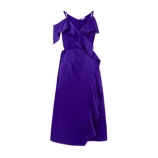 Warehouse Warehouse Frill Midi Dress Size 6 ($92) ❤ liked on Polyvore featuring dresses, bright purple, going out dresses, midi dress, frilly dresses, purple dress and holiday party dresses