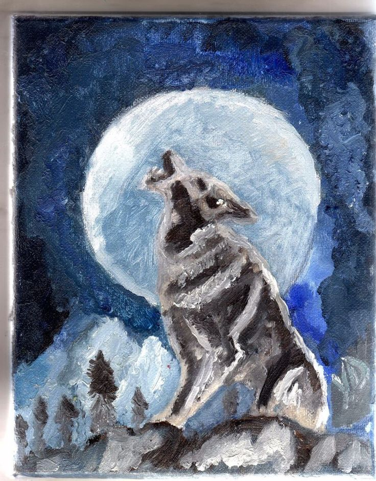 ORIGINAL Oil Painting- The wolf howling at the moon #Realism