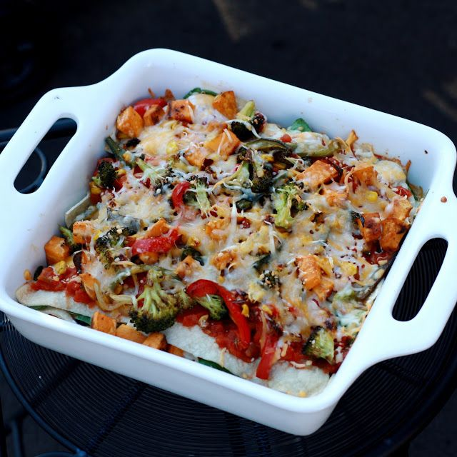 Stacked Roasted Vegetable Enchiladas | recipes | Pinterest