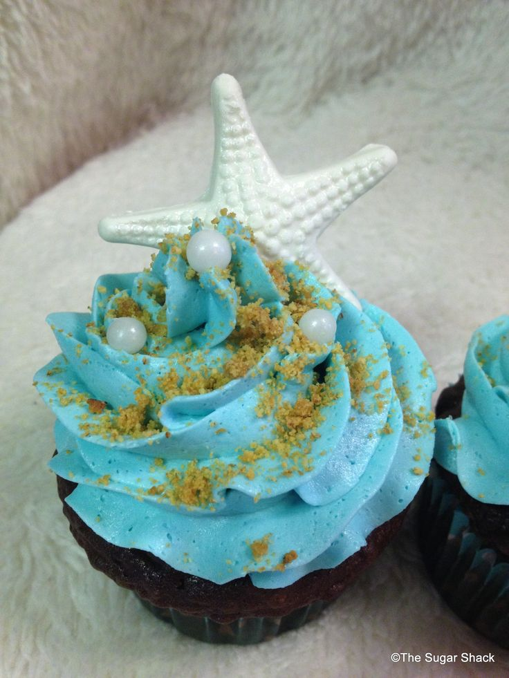 Beach Cupcakes Brown Sugar As Sand Simple Starfish Bridal Shower Idea