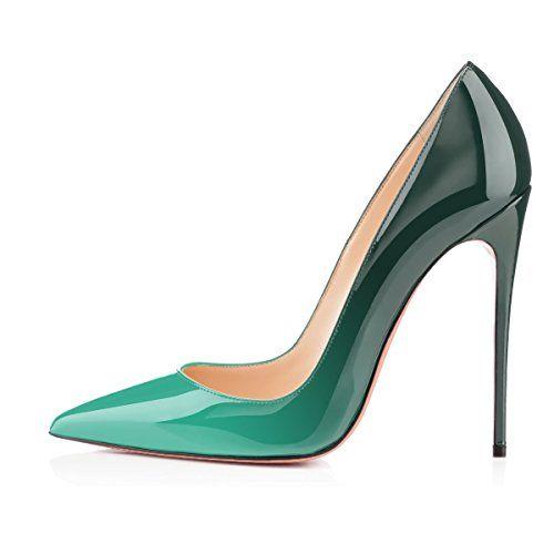 41b8084881cc0 uBeauty Escarpins Femmes - Chaussures Stilettos - Talon Haut 12CM - Talon  Aiguille - Grande Taille - Chaussures Femme Talons Vert 35 EU