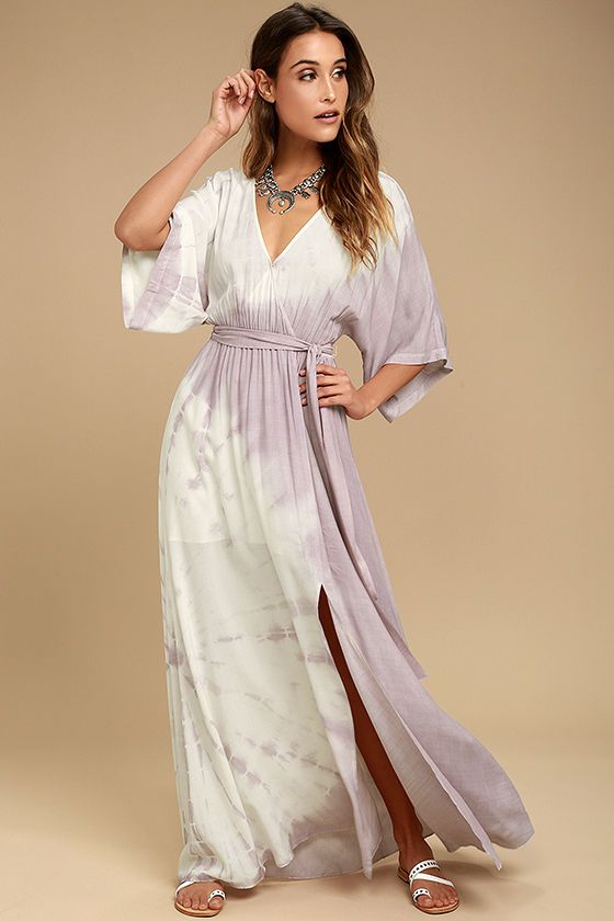 Lulus Exclusive! The beach and the Awaken My Soul Ivory and Lavender Tie-Dye Maxi Dress are calling your name! Ivory and lavender tie-dye rayon shapes short kimono sleeves, and a surplice bodice with modesty snap. Elastic and attached sash belt cinch the waist above the slit maxi skirt.