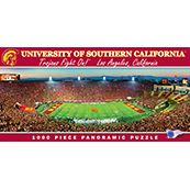 "This MasterPieces NCAA 1000pc 13"" x 39"" Panoramic University of Southern California Football Puzzle features the view from the sky box seat of  the USC Stadium  with such incredible detail that it's common for you to find yourself as part of the phot"