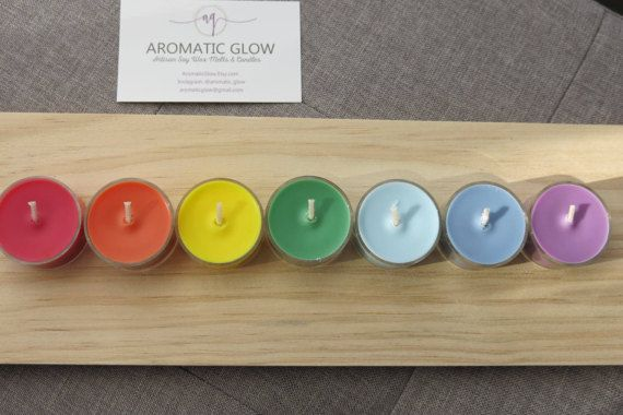Chakra Tealight Candles Soy Wax Candles Natural by AromaticGlow