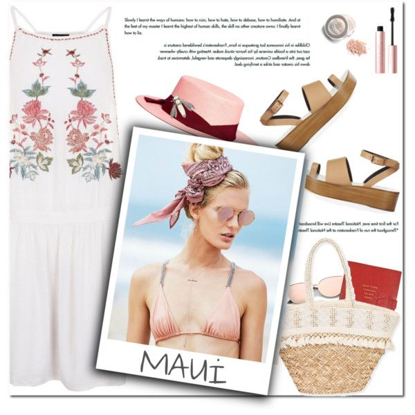 How to Style a White Floral Dress with a Pink Hat, Straw Bag and Neutral Sandals for Travel to Hawaii this Spring