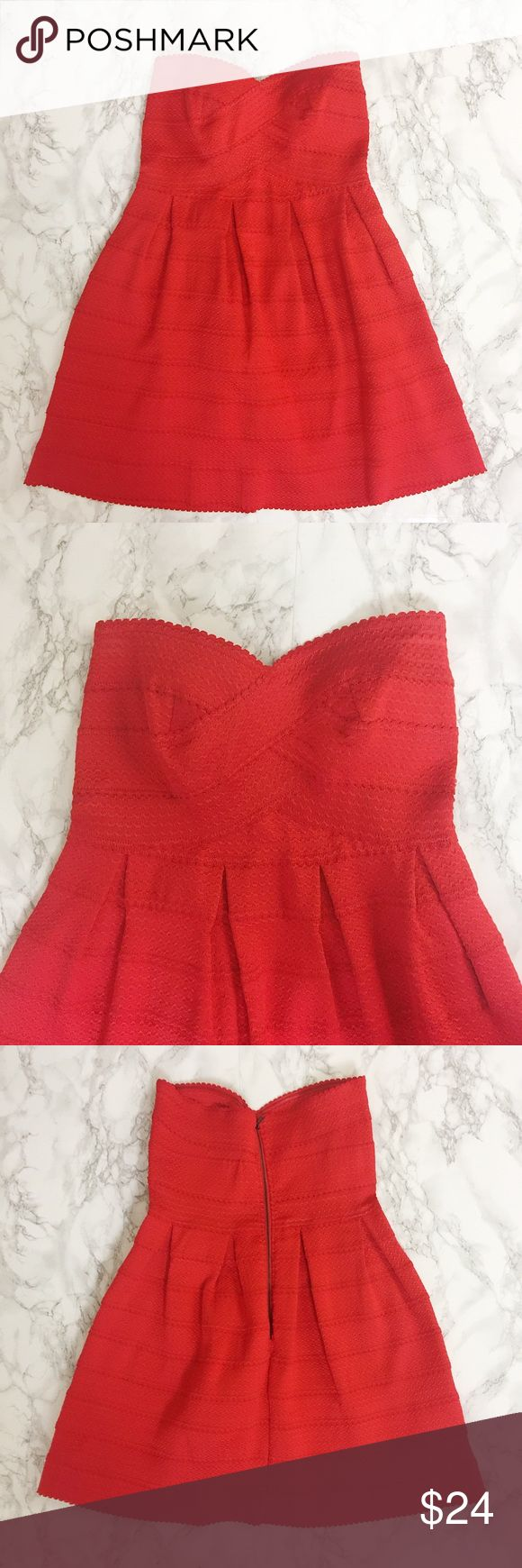Sans Souci Red Strapless Cocktail Dress Red bandage dress with plenty of stretch. Sweetheart neckline. Pleated, flared skirt. Very thick material. Not lined. Exposed zipper in back. Sans Souci Dresses Strapless