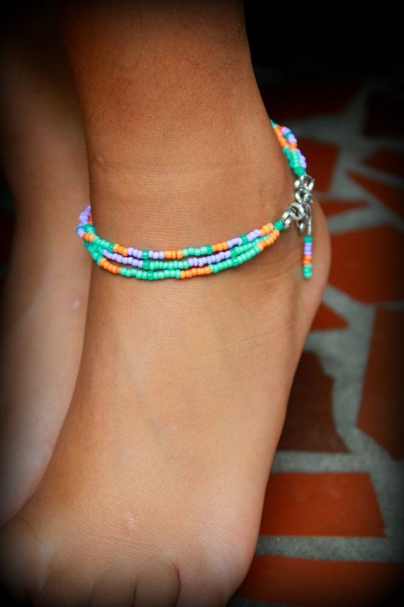 Bohemian Ankle Bracelet Stackable Seed Beaded by NativeStyles
