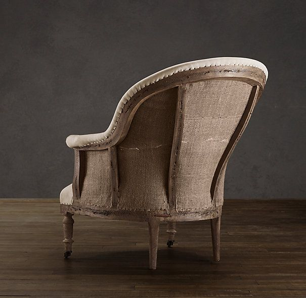 really like the idea of exposed chair frame and burlap - Deconstructed French Napoleonic Chair