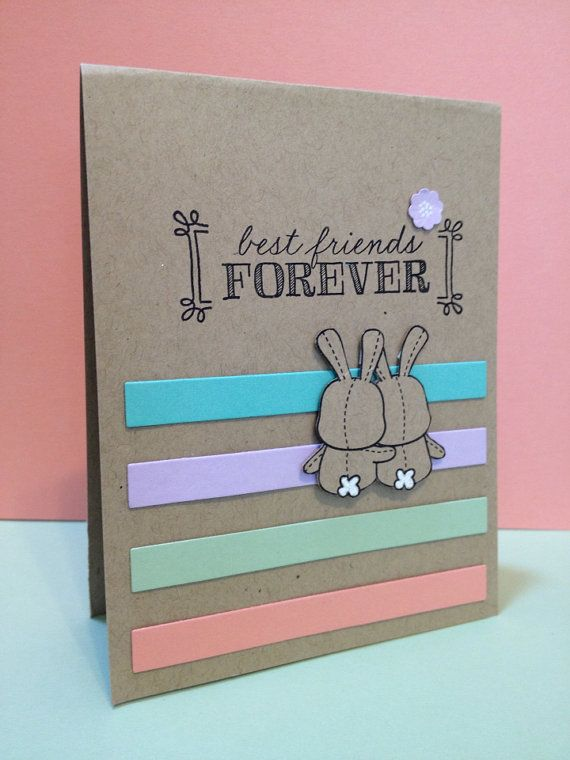 "Best Friends Forever greeting card.  4.25"" x 5.50"" cute BFF card.   on Etsy, $6.00"