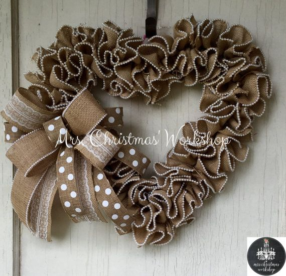 Wedding wreath burlap wreath heart wreath by MrsChristmasWorkshop