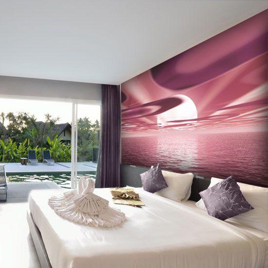 Różowy zachód słońca - idealna fototapeta do sypialni.