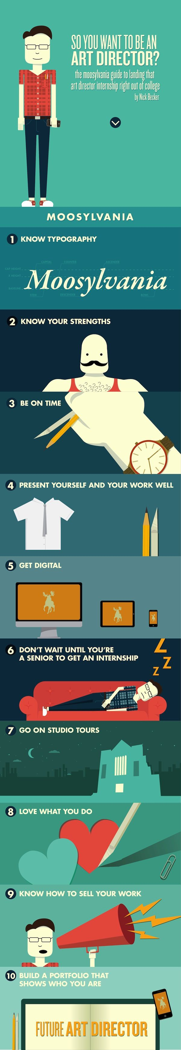 So you want to be an art director? Great infographic by @Nick Becker with tips for landing an internship.