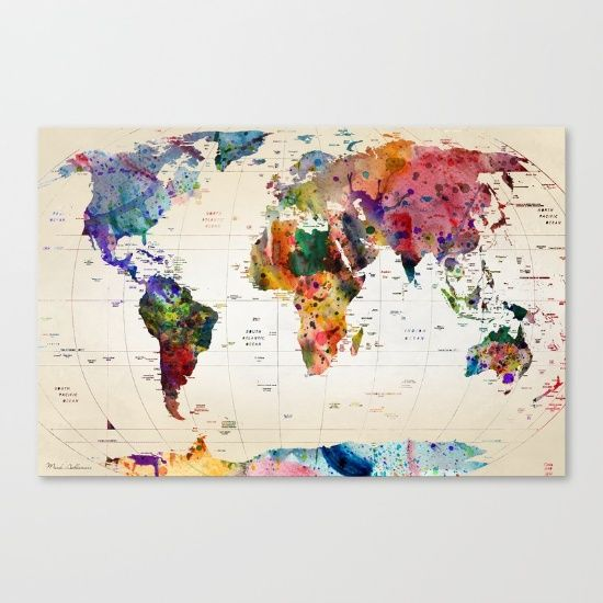 Buy map Canvas Print by mark ashkenazi. Worldwide shipping available at Society6.com. Just one of millions of high quality products available.