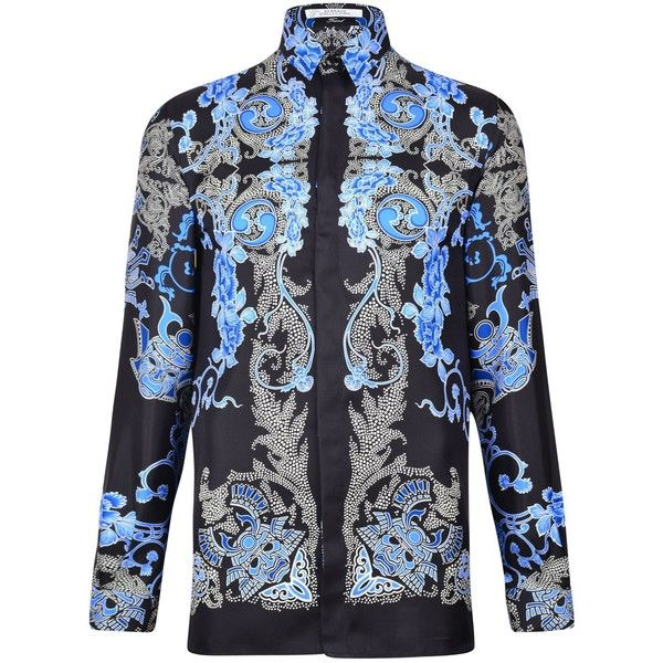 VERSACE COLLECTION Samurai Shirt ($490) ❤ liked on Polyvore featuring tops, blue, collared shirt, versace, loose fit shirt, cut loose shirt and blue collar shirt