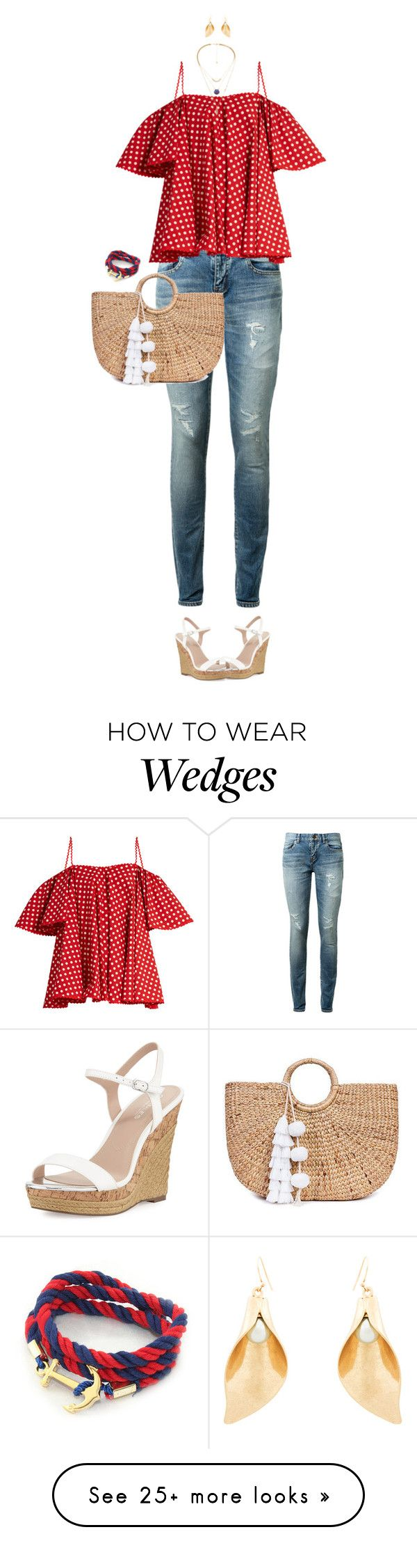"""""""Re, White And Blue"""" by ittie-kittie on Polyvore featuring Yves Saint Laurent, Anna October, Charles by Charles David, JADE TRIBE, Lulu Frost, Summer, summerstyle, summerfashion and redwhiteblue"""