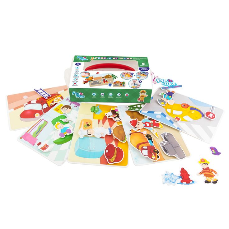 """Picnmix  """"People at Work"""" educational game toy includes  5  work scenario cards, 5 guide cards and 23  re-stickable Velcro pieces"""
