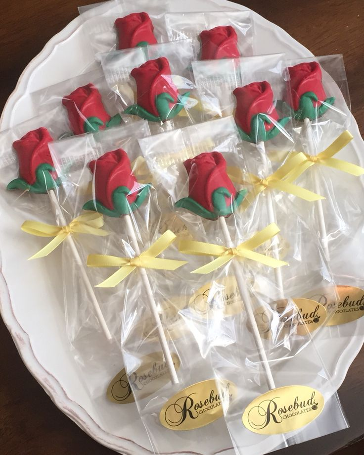 """""""Beauty & the Beast"""" Chocolate Red Rose Lollipops... #rosebudchocolates #chocolate #redrose #rose #lollipop #beauty #princess #belle #beautyandthebeast #theatre #business #entrepreneur #candy www.rosebudchocolates.com"""