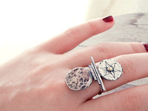 Greek ring hand forged sterling silver long ring by CarmelaRosa