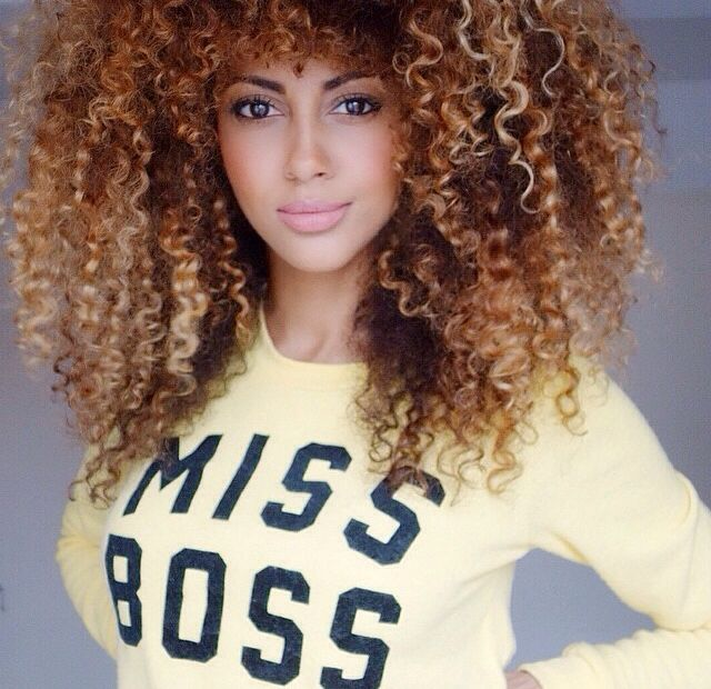 Bwatuwant Golden Brown Highlights Curly Big Afro