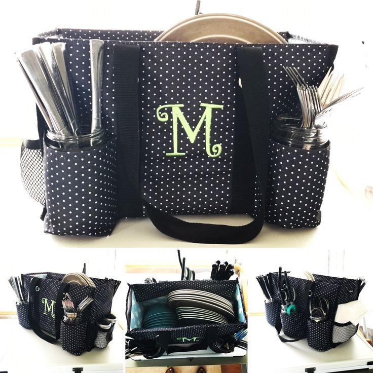 Zip-top organizing utility tote from Thirty-One turned into a dish/cutlery caddy for camping or picnics.
