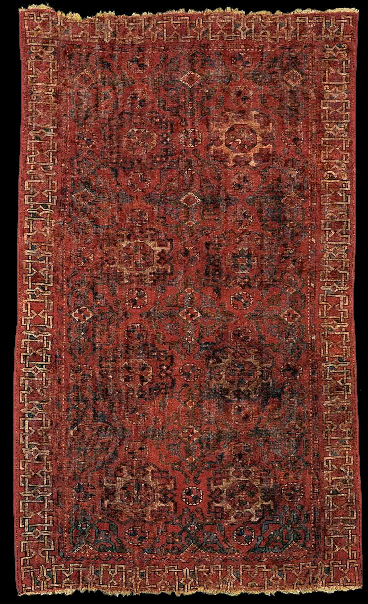 """Holbein carpet, Contini-Bonacossi Collection  Small pattern Holbein carpet, XVI century, Ottoman Empire, Western Turkey. According to John Taylor: """"A carpet exhibited by Alberto Boralevi in Perugia in 1996 was once in the Contini-Bonacossi Collection and was optimistically dated late 15th Century. It has a D1 type border with """"X-Boxes"""" still connected. Unsold at Nagels on 7 May 1994(1112)"""""""