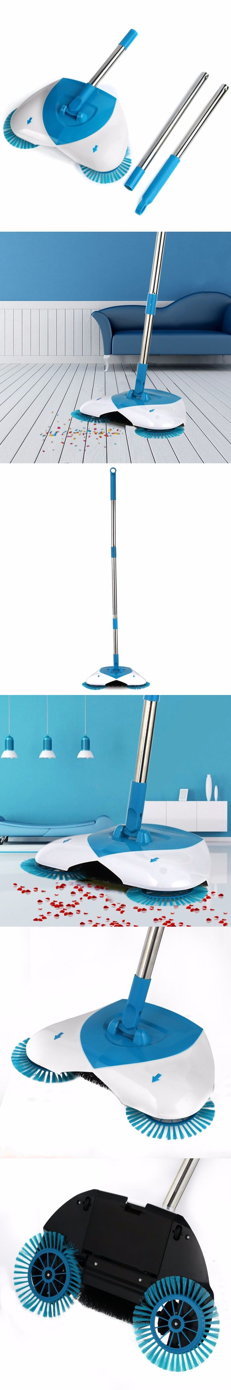 Spin Hand Push Broom Sweeper Household Dust Collector Floor Surface Cleaning Mop Adjustable Convenient Sweeping Supply Hot Sale