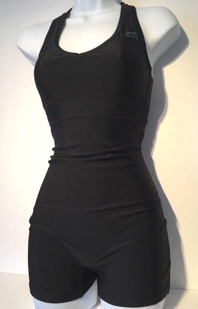 187205cd69cb3 Ladies Black SLAZENGER Shorts Leg Swimsuit Size 16 - Racer Racing Back  Costume  fashion