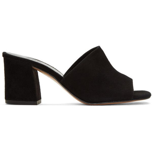 Maryam Nassir Zadeh Black Suede Mar Mules found on Polyvore featuring shoes, sandals, heels, black, suede mules, black heeled sandals, mule heel sandals, heeled sandals and slip on sandals