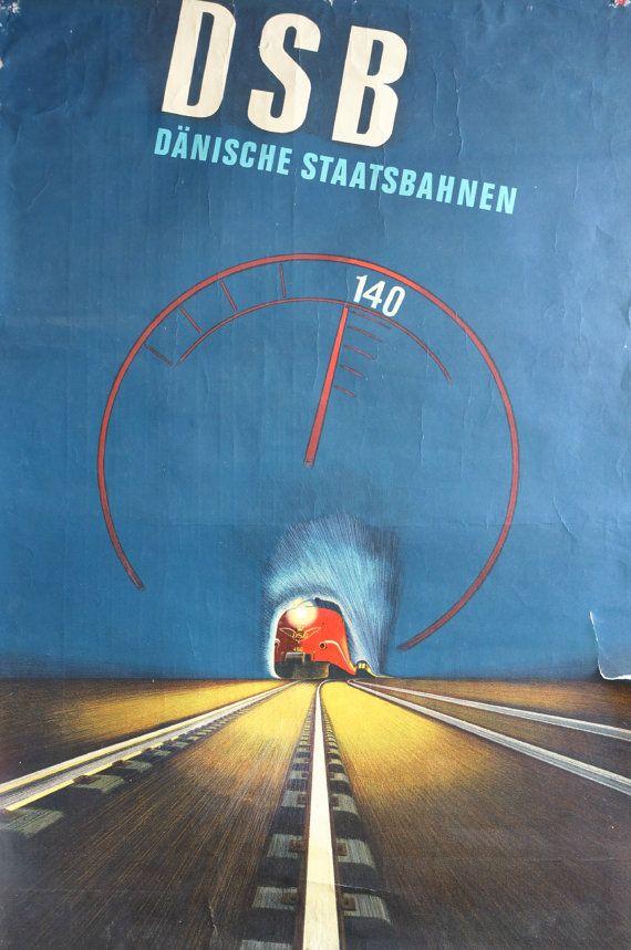 1972 High Speed Train  Original Vintage Poster by OutofCopenhagen