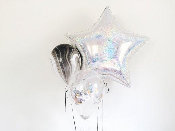 Holographic Star, mettallic confetti and Marble Balloon Trio - Party Decor Celestial Galaxy Balloon Set