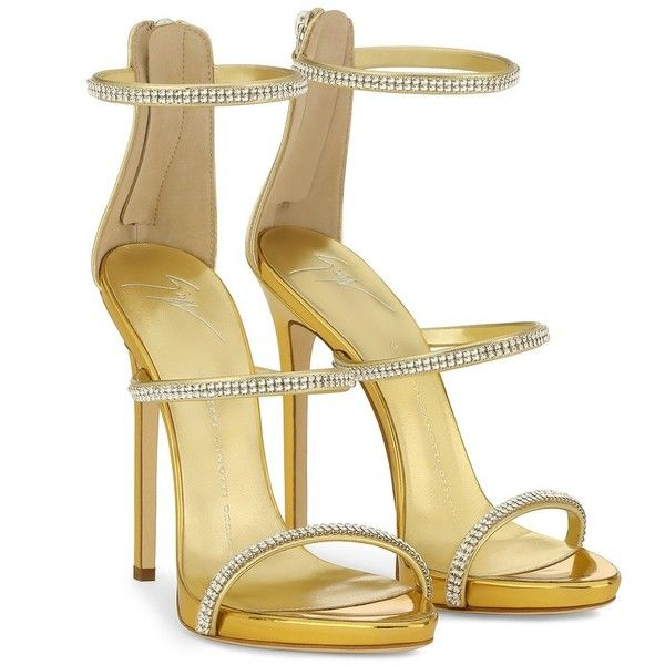 Giuseppe Zanotti Harmony Sparkle ($950) ❤ liked on Polyvore featuring shoes, sandals, gold high heel shoes, gold platform sandals, platform shoes, giuseppe zanotti sandals and gold strappy sandals