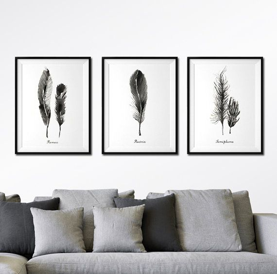 Feather Wall Art, Black Feather Watercolor Painting