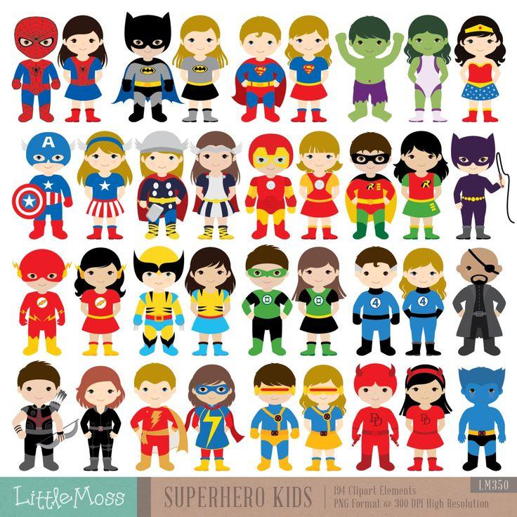 36 bambini Superhero costumi Clipart Clipart di di LittleMoss