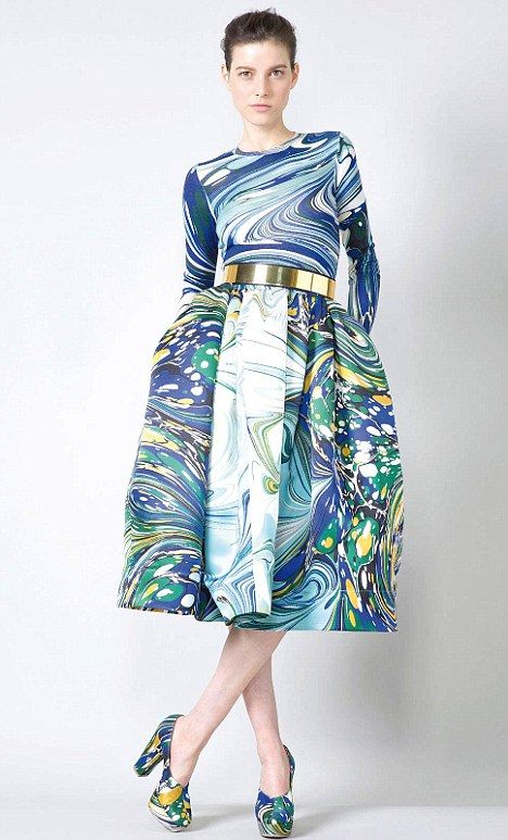 A Stella McCartney evening gown featuring marble print. How to wear the marble print!